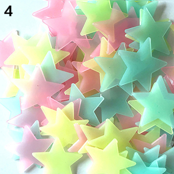Bluelans 3D Glow in the Dark Stars Ceiling Wall Stickers 3.8cm (Colorful) - intl