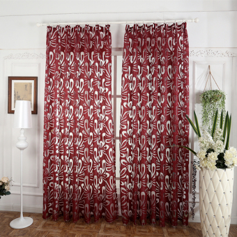 Red window treatments semi-blackout curtains 3d fashion design modern curtain for living room red