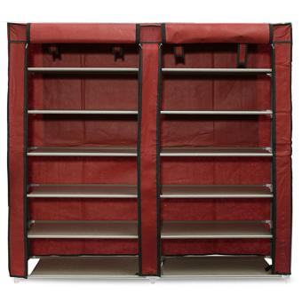 Harga Double Shoe Rack 7th 12 Layers with Dust Cover - Rak Sepatu - Maroon