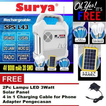 Harga Surya Lampu Emergency Rechargeable SPS L43 Multifungsi Build-in Speaker, Radio, Power Bank Charger, USB Music, Micro SD Card