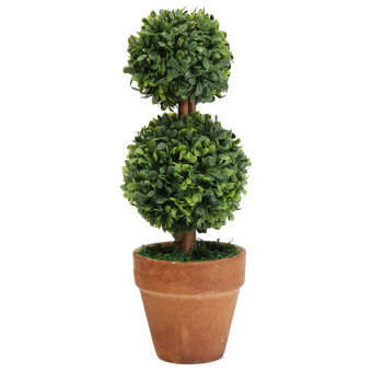 Harga Plastic Garden Grass Ball Topiary Tree Pot Dried Green Plant for Wedding Party double balls