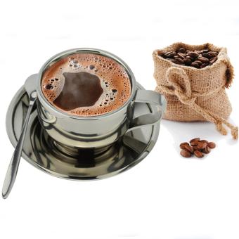 Harga 3 buah Stainless Steel cangkir kopi Set termasuk tatakan cangkir sendok