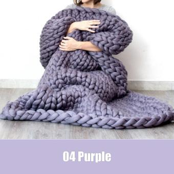 Harga High Quality Store New Newest Wonderful Hand Chunky Knitted Blanket Thick Yarn Merino Wool Bulky Knitting Throw Purple