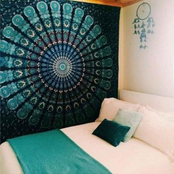Harga Ai Home 150cmx130cm Boho Wall Carpet Tapestry Mandala Tapestry Crystal Arrays Blue Wall Art Tapestry Indian Decoration Blanket (Green) - intl