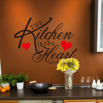 "360WISH ZooYoo The kitchen Is the Heart of the Home"" Words Quotes Sayings Red Loving Hearts Waterproof Removable PVC Vinly Wall Sticker Home Art Decor Decal(43*60cm)"" (EXPORT)"