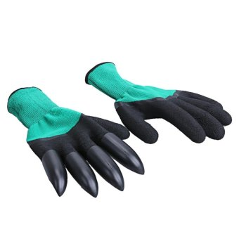 Harga 1 Pair Rubber Polyester Builders Garden Latex Gloves 4 ABS Plastic Claws (Green + Black) - intl