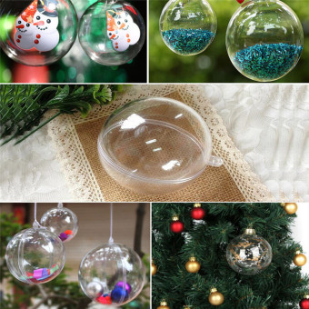 Harga Hanyu 70mm 5pcs Christmas Balls Round Clear Plastic Fillable Ball Ornament - intl