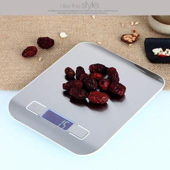 Kitchen Scale 11lb/5kg Digital Stainless Steel Multifunction Food Scale Touch Control Multi Measurement Units - grs, lbs, oz, ml, Ultra Lightweight, Slim Design, Silver (Batteries Included) - intl