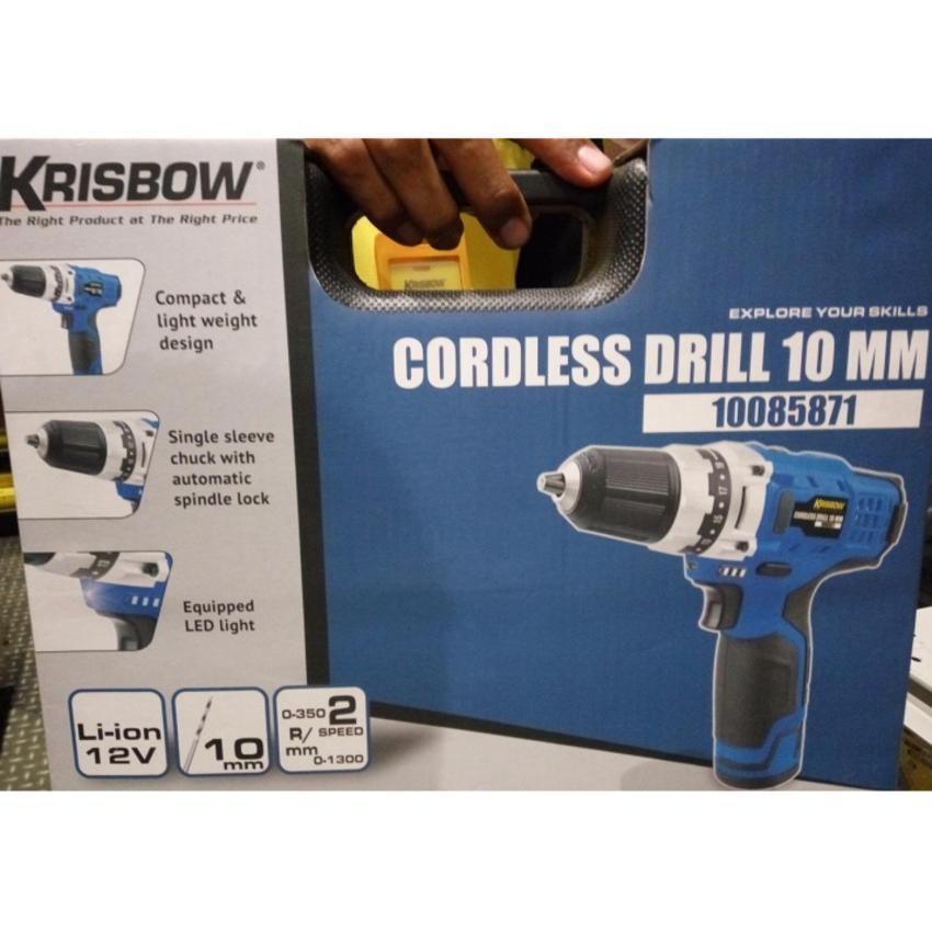 Krisbow Mesin Bor Baterai / Cordless Drill 10mm +Bonus Mata Bor &