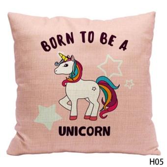 Kuhong Fashion Unicorn Pattern Linen Pillow Case Cushion Cover Pillowcase Home Decor H05 - intl