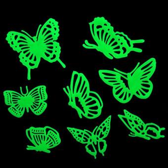 Kupu-kupu Bersinar Dalam Gelap Neon Plastik Rumah Menghias DindingStiker Kuning