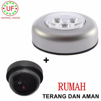 Lampu Tempel/Lampu Darurat Anytime And Anywhere Touch Lamp 3 LED Stick & Click + Bonus CCTV Dummy Security : Paket Hiasan Rumah Bermanfaat