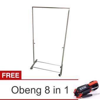 Lanjarjaya Stainless Steel Rak Gantungan Baju 1 Palang + RodaAbjustable + Obeng 8 in 1
