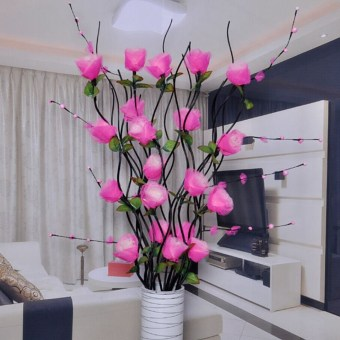 Lantai Ruang Tamu Bunga Buatan Daun Vena Kering
