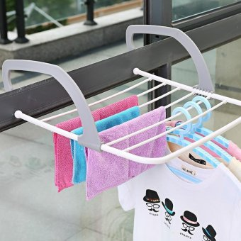 Laundry Clothing and Shoes Multipurpose Foldable Clothes Hanger Rack Storage Organiser - intl