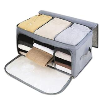 Harga Leegoal Home Storage Bamboo Charcoal Fiber Clothing Organizer Bags Zipper Bag Case Container Organizers Container Box,Gray - intl