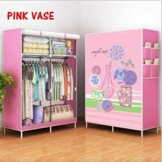 Lemari gantung baju lemari pakaian gantung lemari baju gantung lemari plastik anak lemari pakaian terbaru Pink Vase Double Rack
