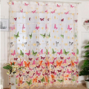 Living Room Bedroom With Butterfly Print Window Screens - intl
