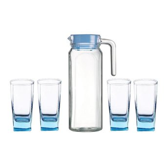 Luminarc Set Teko Kaca & Gelas Kaca Beverage set Fridge Ice Blue 5 pcs