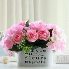 Meja Bunga Kecil Segar Bola Keramik Vas Pastoral Floral Ornamen Ruang Tamu Dekorasi .