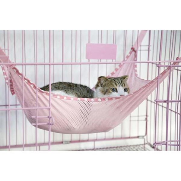 Menggantung-Qiao Kucing Pet Jala Hanging Bed Tempat Tidur GantungSangkar Berwarna Merah Muda
