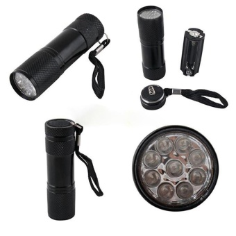 Mini Aluminum UV ULTRA VIOLET 9 LED FLASHLIGHT BLACKLIGHT TorchLight Lamp - intl - 4