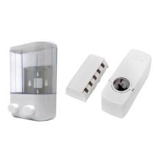 MJstore Dispenser Sabun Cair 2 in 1 - 2 Tabung - Putih + Gratis Dispenser Odol