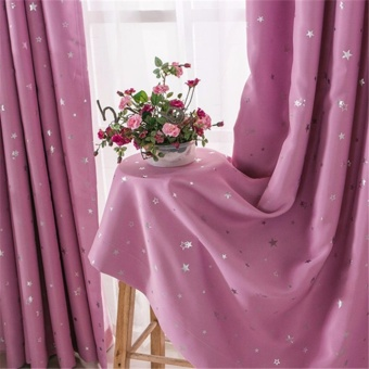 Modern Blackout Window Curtains Star Curtain Purple - intl