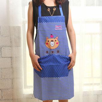 Moonar pola kartun beruang saku tahan air dengan celemek dapur (Biru)