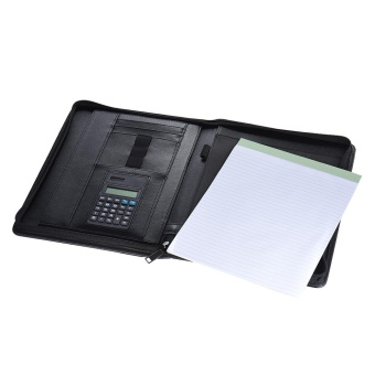 Detail Gambar Multifunctional Professional Business Portfolio Padfolio Folder Document Case Organizer A4 PU Leather Zippered Closure with Calculator Card ...