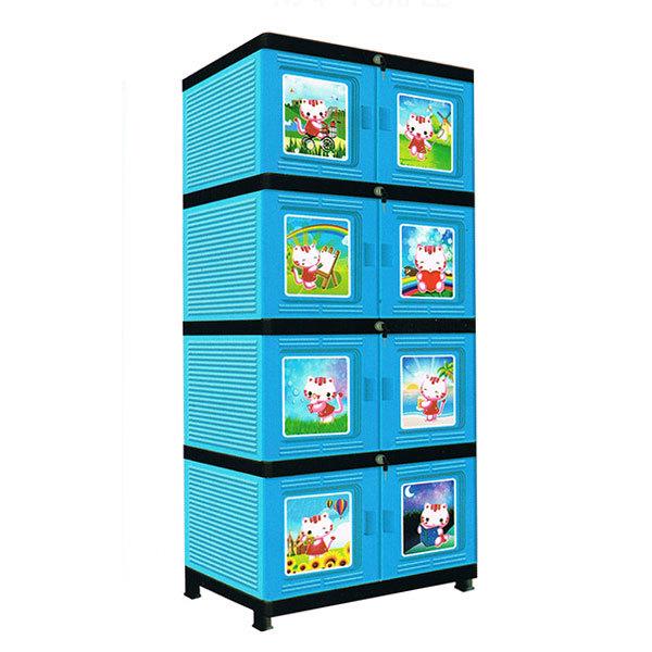 new jofer lemari plastik 4 susun dilengkapi kunci biru muda lazada indonesia