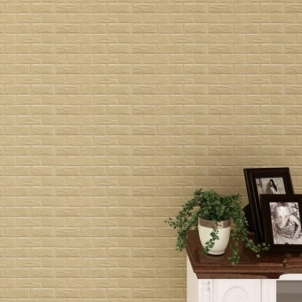 New PE Foam 3D Wallpaper DIY Wall Stickers Wall Decor EmbossedBrick Stone Khaki - intl