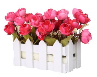 niceEshop bunga-bunga dalam pot plastik kecil tanaman Camellia umbi palsu  berdiri di pagar kayu merah anggur f685ca5da7