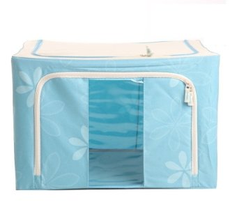 Oxford Box Steel Frame Oxford Fabrics Foldable Storage Box - 66L -Sun Flower Biru
