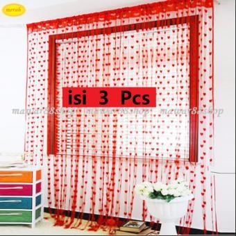 Paket Promo Tirai Benang Motif Love Isi 3 pcs -Merah. >>>>