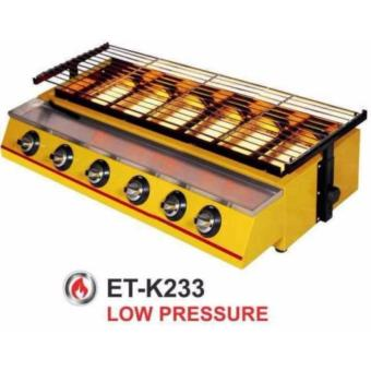 Panggangan Sosis 6 Tungku GETRA ET-K233 / Mesin Panggang BBQ 6tungku / Kompor Panggang Tanpa Asap warna Kuning