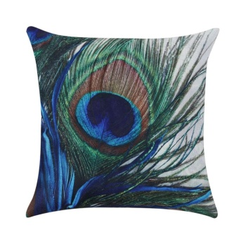 Peacock Linen Pillowcase Throw Pillow Cover Cushion Cover Home Decoration(Green) - intl