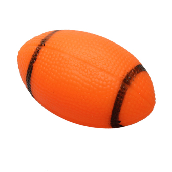 Pet Dog Chew Toy Squeaky Rugby Ball Orange