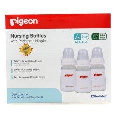 PIGEON Botol Susu Bayi Triple Pack Pp Kp 120Ml With S-Nipple Size S