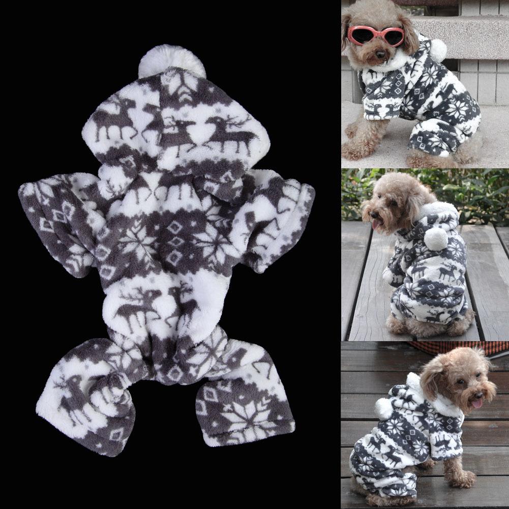 Populer Anak Anjing Kucing Pakaian Musim Dingin Bulu Rusa Sweatshirt Kerudung Kelabu XXL .