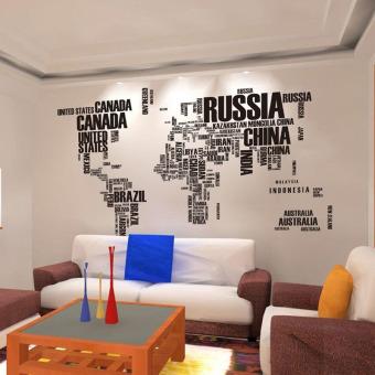 Poster Huruf Peta Dunia Quote Yang Dapat Dilepas Vinil Stiker SeniLukisan Dinding Ruang Tamu Dekorasi Wall