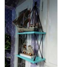 PROMO!!! (Best Seller) Rak Dinding 2 Susun Biru Tali Hitam Silang