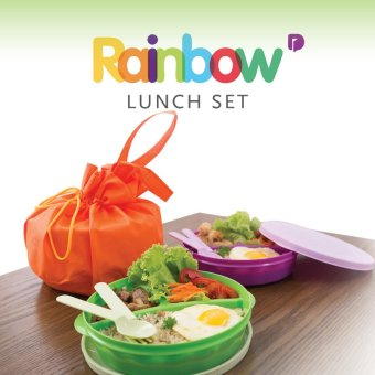 Rainbow Set Lunch box 3 Kotak makan 1 Set