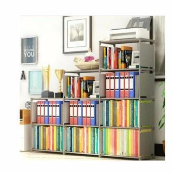 Rak buku portable 3 sisi - rak lemari sepatu - 9 ruang serbaguna