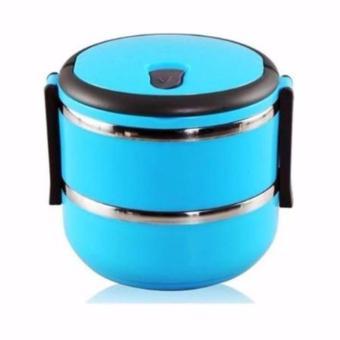 Rantang 2 Susun - Kotak Makan Stainless Steel - Lunch Box 1400 ml - Biru