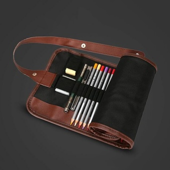 ... Retro Canvas Makeup Pencil/Pen Case Bag Wrap Curtain Sketch Roll Up Holder Pouch Black