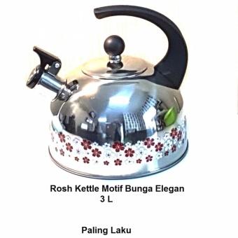 Rosh Kettle Whistling 3 L Stainless Steel - teko berbunyi Silver Motif Bunga