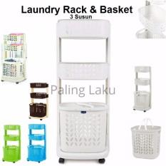 Rovega Laundry Rack & Basket 3 Susun  RLB-300/ keranjang Baju kotor/ rak serbaguna