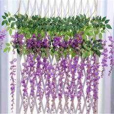 Sanwood® Buatan Wisteria Flowers Vine Pesta Taman Pernikahan Bunga Sutra Hanging Decor (Ungu)-Intl