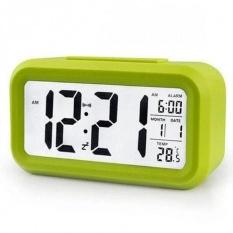 Smart Digital LCD/LED Alarm Clock Temperature Calendar Auto Night Sensor Clock - Green